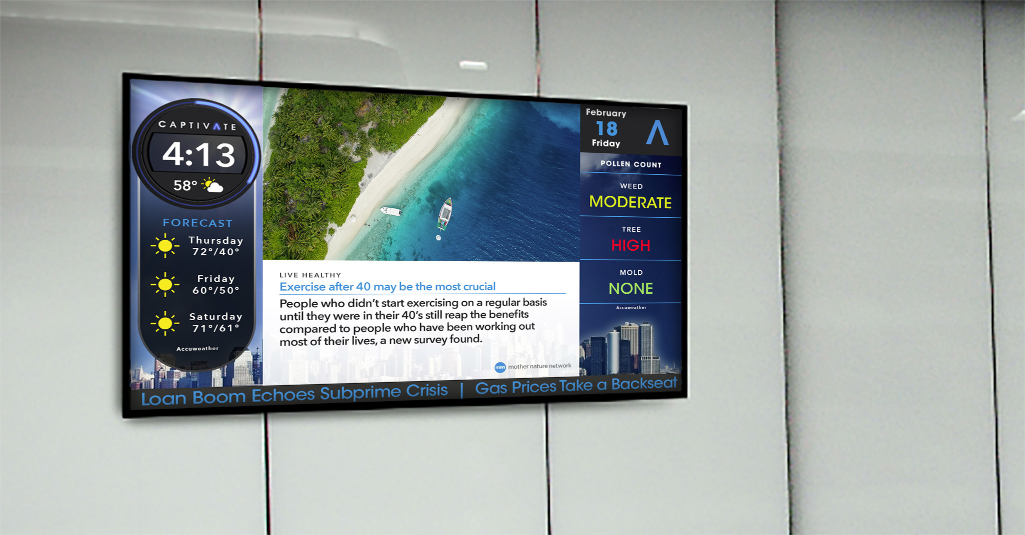 Captivate Office Digital Signage - Large Format Display Captivate Lobby Screen