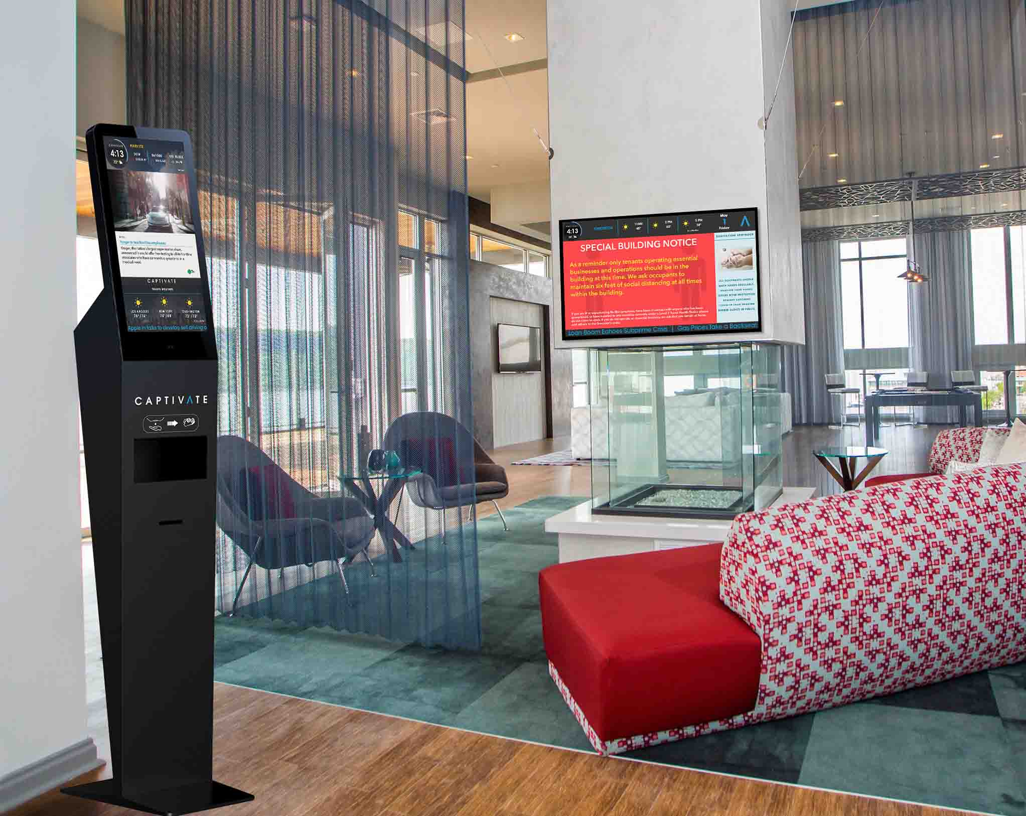 Captivate | CLEAN Hand Sanitizer Dispenser and Digital Display to keep visitors safe