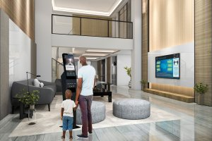 Dad and Son in Hotel - Looking at Captivate | CLEAN