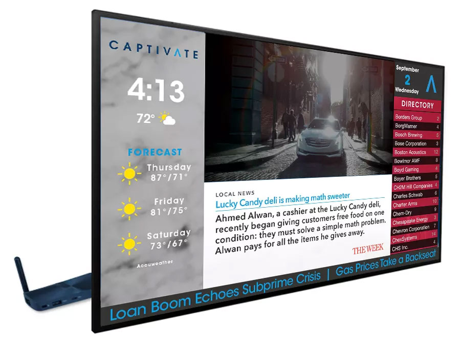 Captivate Digital Signage - Large Format Displays for residential buildings